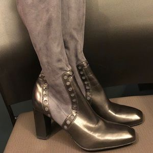 Gray Franco Sarto Tall Leather/Suede Boots